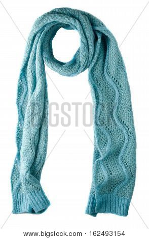 Scarf Isolated On White Background.scarf  Top View .turquoise Scarf