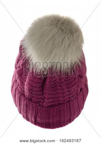 Women's Knitted Hat Isolated On White Background.hat With Pompon.dark Red Hat .