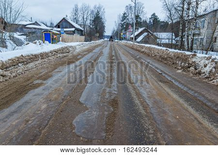 Bad road is not cleared in time. Municipal service time has not removed the snow and got this bad and dangerous road.