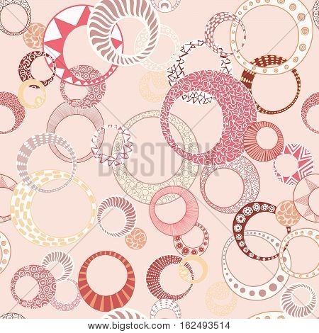 Geometric Circles Seamless Repeating Pattern in Pink