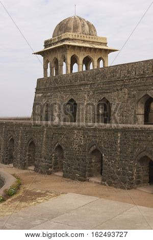 MANDU, INDIA - NOVEMBER 17, 2008: Historic Rani Rupmati's Pavilion inside the hilltop fort of Mandu in Madyha Pradesh, India. Built in stages from 15th century onwards.