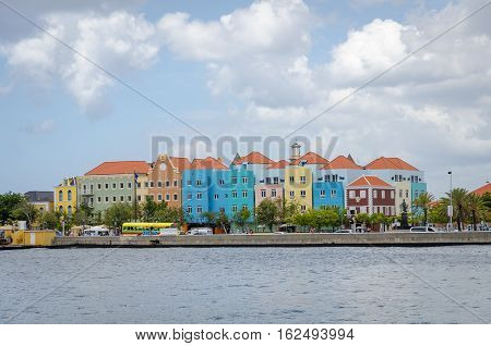Willemstad In Curacao Handelskade With Colorful Facades