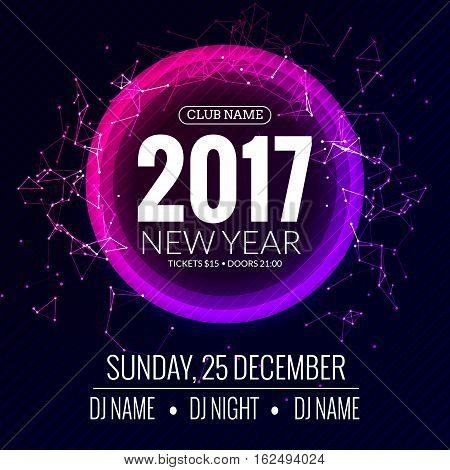 New year 2017 party and Christmas party poster template design. Disco night banner flyer. New year Holiday celebration invitation.