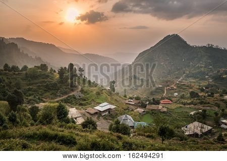 View of a Malamjaba village in Swak .KPK province Pakistan.
