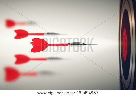3D Rendering Darts launched with speed toward the target. Business competition concept