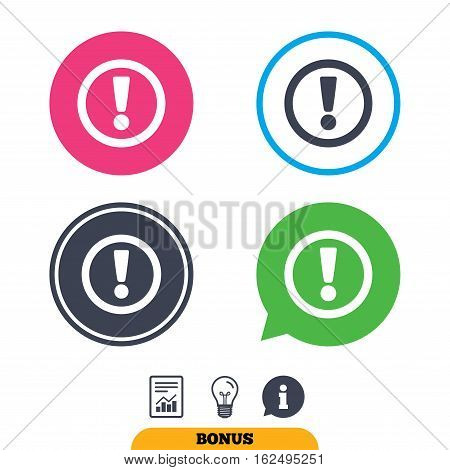 Attention sign icon. Exclamation mark. Hazard warning symbol. Report document, information sign and light bulb icons. Vector