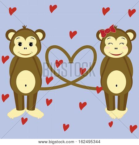 an illustration of a couple of monkeys who's in love a make their tails in heart shape