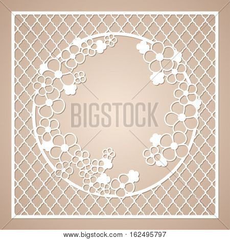Openwork square frame with round wreath of flowers. Laser cutting template for greeting cards envelopes invitations interior decorative elements.