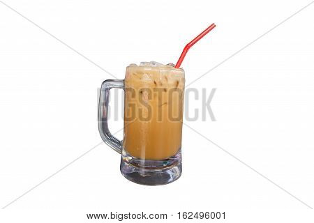 Iced coffee with straw in plastic cup isolated on white background