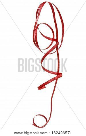 Red ribbon streamer isolated on a white background