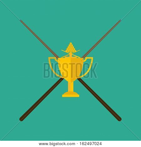 Winning billiards concept of victory vector illustration. Gold cup with cue achievement award best first prize. Championship cue golden reward design billiard trophy.