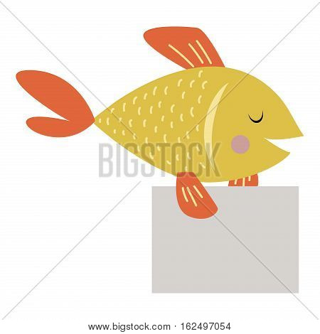 Wild animal zoo strike with clean plate board vector cartoon. Marine life animal gold fish silhouette saying message comment quotation poster information.