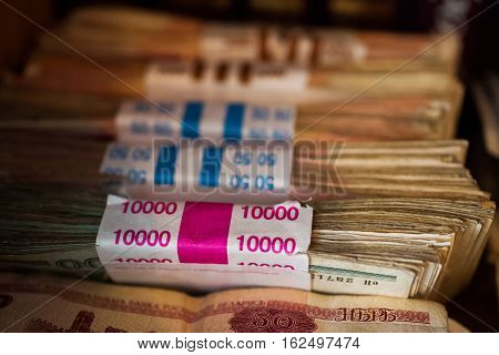counted the money in the package the Belarusian money