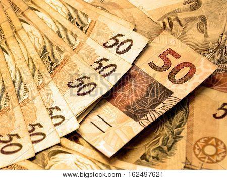 Brazilian money. Real brasileiro, BRL, 50 reais.