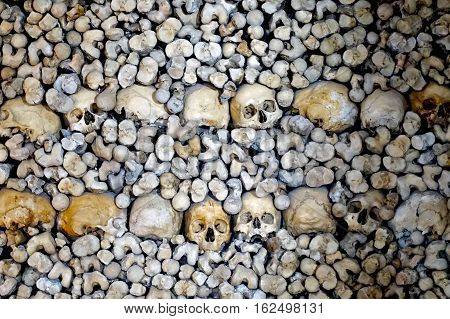 Evora, Portugal, November 23, 2016: A part of a wall of the Chapel of Bones at Evora in Portugal.