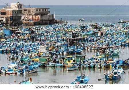 Salinas Ecuador - September 17 2011: Fishing boats crowded in the Bay of Santa Elena