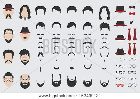 Different design elements of men face, beard, mustache, hair, tie and glasses. Vector EPS8 illustration.
