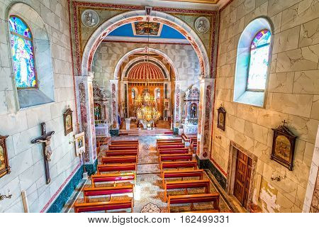TUCEPI, CROATIA - September 21, 2016: Interior of the old Church of St. Anthony in old village in Dalmatia.