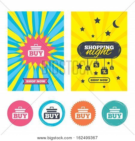 Sale banners, online shopping. Buy sign icon. Online buying cart button. Shopping night. Vector