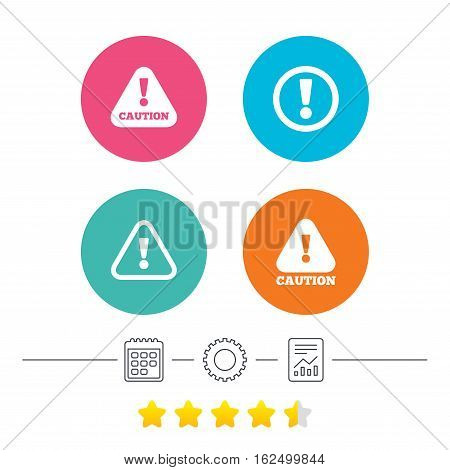 Attention caution icons. Hazard warning symbols. Exclamation sign. Calendar, cogwheel and report linear icons. Star vote ranking. Vector