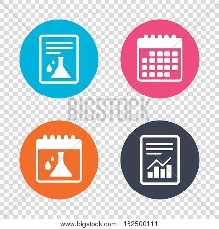 Report document, calendar icons. Chemistry sign icon. Bulb symbol with drops. Lab icon. Transparent background. Vector