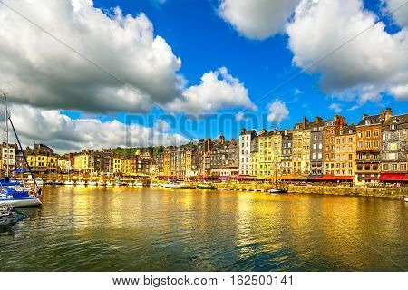 Honfleur famous village harbor skyline and water. Normandy France Europe.