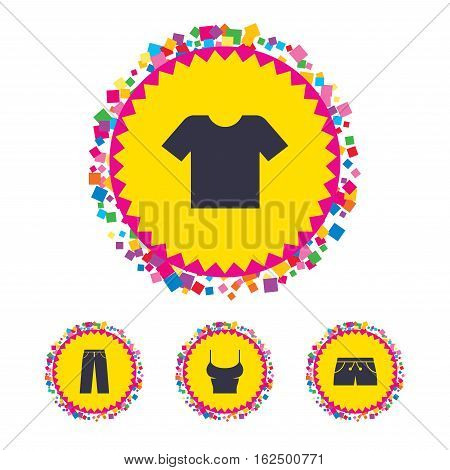 Web buttons with confetti pieces. Clothes icons. T-shirt and pants with shorts signs. Swimming trunks symbol. Bright stylish design. Vector
