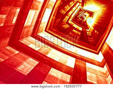 Mystery red background - abstract computer-generated image. Fractal art: futuristic well, portal or entrance. Technology or esoteric backdrop