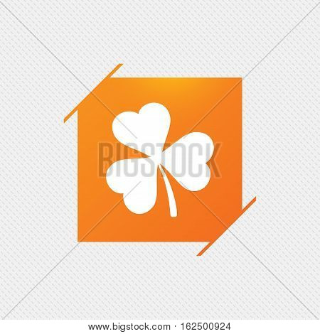 Clover with three leaves sign icon. Trifoliate clover. Saint Patrick trefoil symbol. Orange square label on pattern. Vector