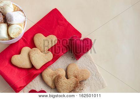 Valentine Heart Cookies On Napkin
