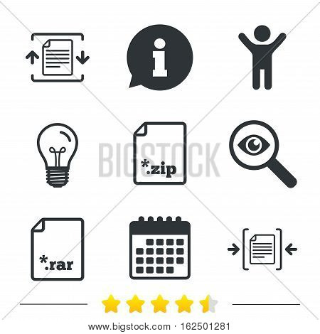 Archive file icons. Compressed zipped document signs. Data compression symbols. Information, light bulb and calendar icons. Investigate magnifier. Vector