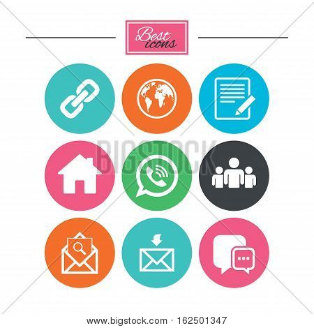 Communication icons. Contact, mail signs. E-mail, call phone and group symbols. Colorful flat buttons with icons. Vector