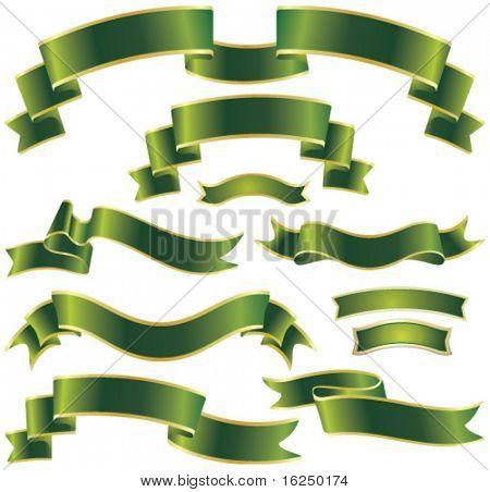 set of green ribbons