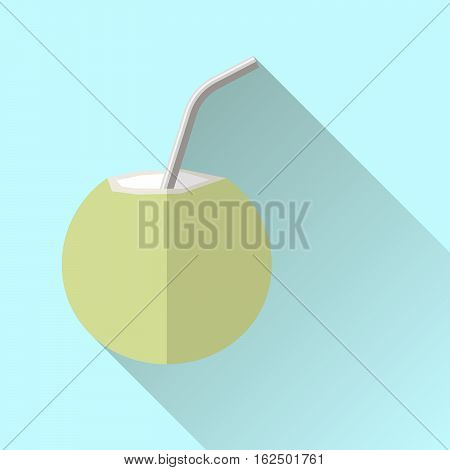 Flat vector icon coconut green coconut with reusable stainless steel drinking straw