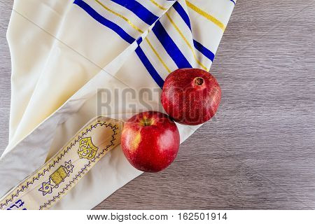 Jewish Holiday Tallit Apples And Pomegranate Rosh Hashana