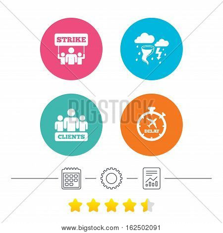 Strike icon. Storm bad weather and group of people signs. Delayed flight symbol. Calendar, cogwheel and report linear icons. Star vote ranking. Vector