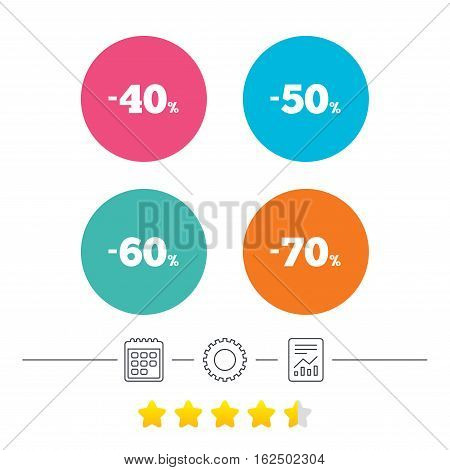 Sale discount icons. Special offer price signs. 40, 50, 60 and 70 percent off reduction symbols. Calendar, cogwheel and report linear icons. Star vote ranking. Vector