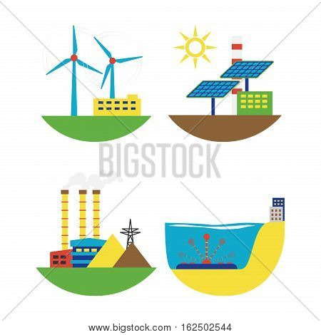 Power alternative energy and eco turbine technology. Renewable nature environmental industry. Source electricity conservation set vector illustration.