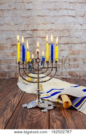 Jewish Holiday Tallit Lighting Hanukkah Candles Celebration