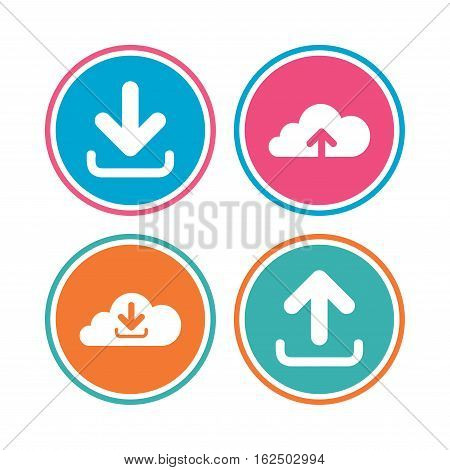 Download now icon. Upload from cloud symbols. Receive data from a remote storage signs. Colored circle buttons. Vector