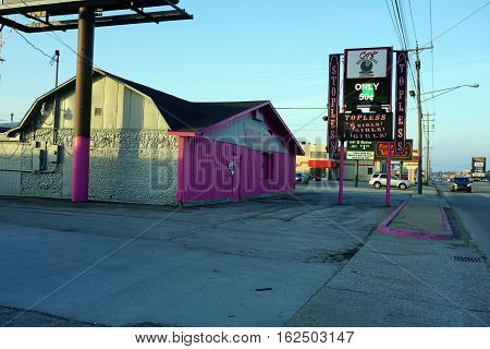 CADILLAC, MICHIGAN / UNITED STATES - NOVEMBER 27, 2016: Coz's Eight Ball Lounge offers alcoholic beverages, pool, and erotic entertainment in Cadillac.
