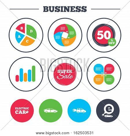 Business pie chart. Growth graph. Electric car icons. Sedan and Hatchback transport symbols. Eco fuel vehicles signs. Super sale and discount buttons. Vector