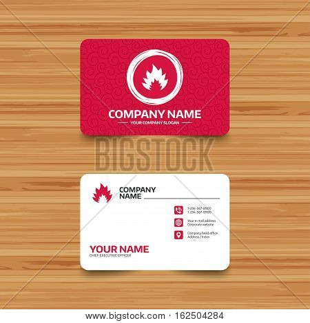 Business card template with texture. Fire flame sign icon. Heat symbol. Stop fire. Escape from fire. Phone, web and location icons. Visiting card  Vector