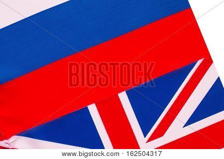 British flag and Russian flag.  Politics concept