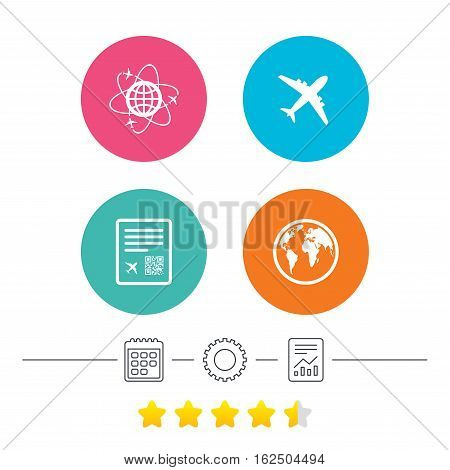 Airplane icons. World globe symbol. Boarding pass flight sign. Airport ticket with QR code. Calendar, cogwheel and report linear icons. Star vote ranking. Vector
