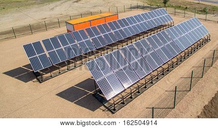 Newly installed solar panels for power generation
