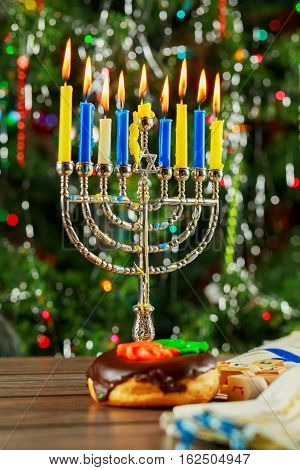 Jewish Holiday Symbol Hanukkah Background With Menorah