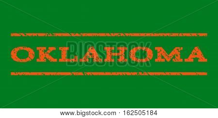 Oklahoma watermark stamp. Text caption between horizontal parallel lines with grunge design style. Rubber seal stamp with unclean texture. Vector orange color ink imprint on a green background.