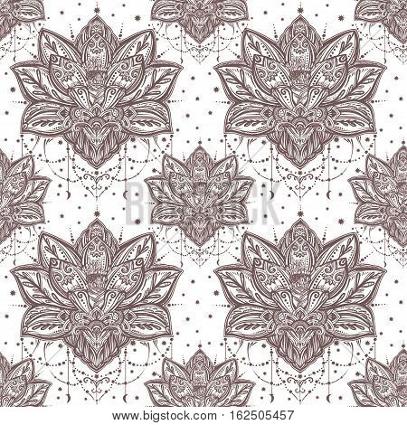 Vector ornamental Lotus Bohemian floral paisley seamless ornament. Folk henna tattoo style pattern. Indian style. Vintage ornate vector wallpaper. Astrology, alchemy, spirit and magic symbol.