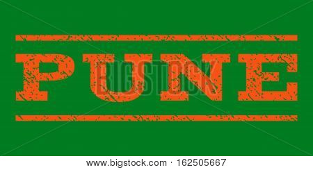 Pune watermark stamp. Text tag between horizontal parallel lines with grunge design style. Rubber seal stamp with dirty texture. Vector orange color ink imprint on a green background.